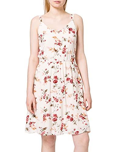 ONLY TALL Damen ONLKARMEN S/L Short Dress AOP Tall WVN Trägerkleid, Creme Brûlée/AOP:Creme BRÚLÉE Rose Flower, 38