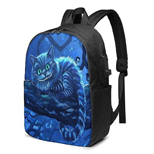 Cartoon Laptop USB Backpack 17 Inch School Bag for Middle College Students Travel Work Large Capacity,Cheshire Cat Tom Carlton