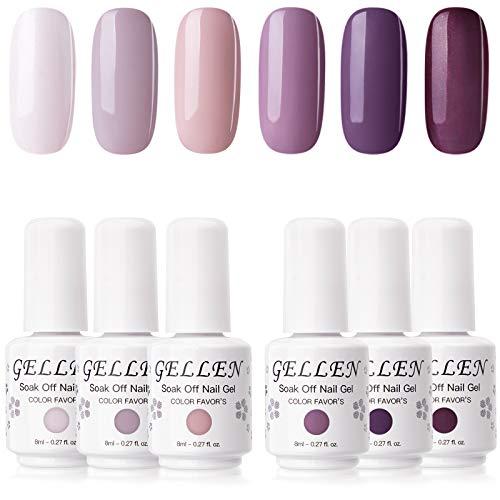 Gellen Gel Nail Polish Kit- 6 Colors Midnight LilacTones, Misty Pink & Purples, Soft Pastel Gel Polish - Fashion Nail Art Designs Home/Salon Gel Manicure