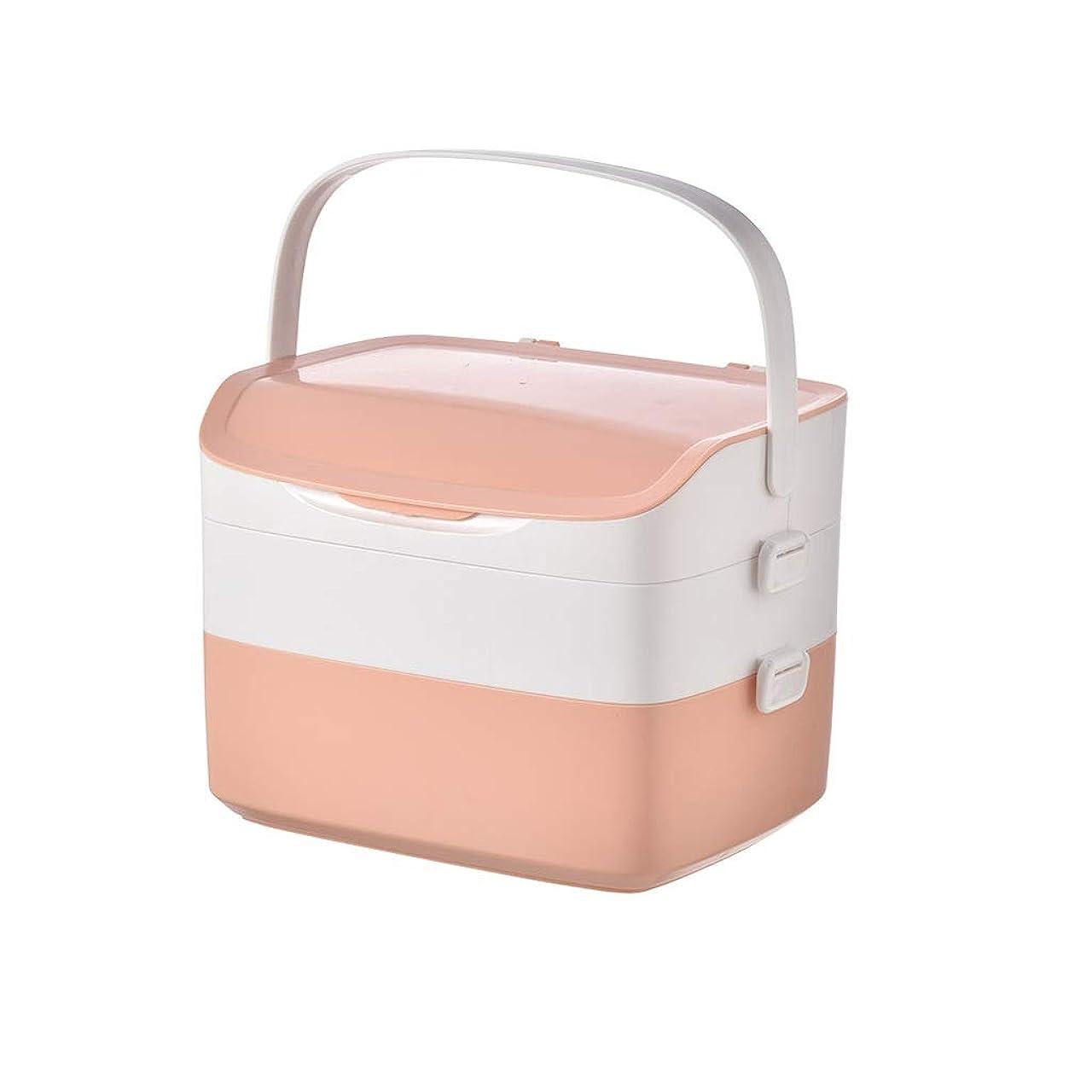 現在イチゴソースLWBUKK 家庭用多層大容量医療用キット、家族用医薬品収納ボックス、家族用救急箱 医療箱 (Color : Pink)