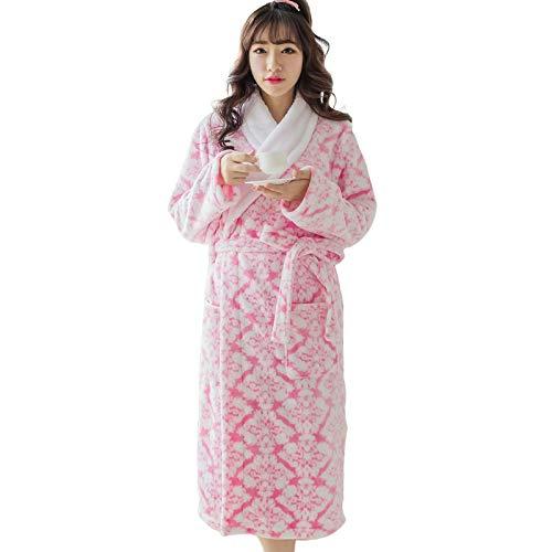 LEYUANA Otoño/Invierno camisón de Franela para Mujer, Cuello de Flor de Palacio, Albornoz de Franela, Ropa de Dormir de Longitud Media, Pijama de salón L 1