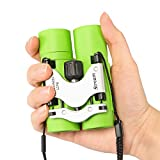 Kids Binoculars, Shockproof Mini Pocket Folding Compact Binoculars for Boys Girls Toys Age 3-12 Year Old, Bird Watching Binoculars Kids (Green)