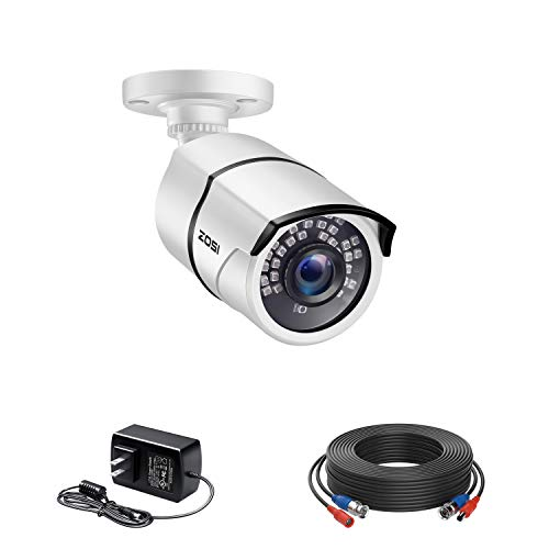 ZOSI 1080p HD 1920TVL Security Camera Outdoor Indoor (Hybrid 4-in-1 HD-CVI/TVI/AHD/960H Analog CVBS),120ft IR Night Vision,105° View Angle Weatherproof CCTV Bullet Camera with Cable and Power Adapter