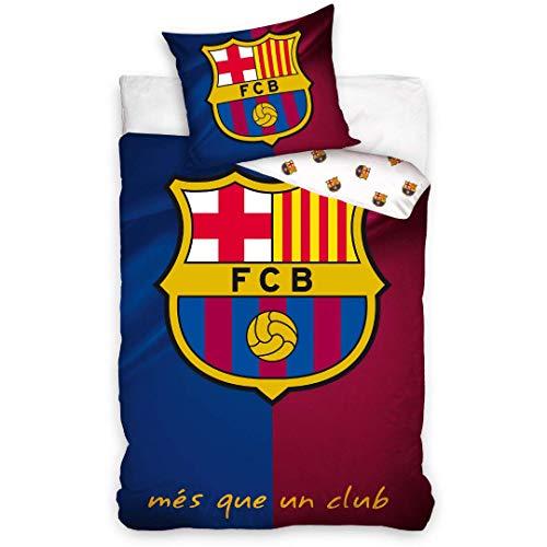 FC Barcelona - Juego de cama (funda nórdica de 140 x 200 cm y funda de almohada de 63 x 63 cm, algodón)
