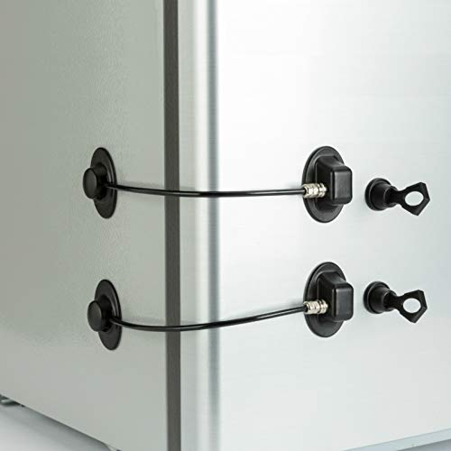 Magnetic Key Child Lock for Refrigerator Fridge Lock White Refrigerator Lock for Children Cabinet Drawer Convenient and Safe.