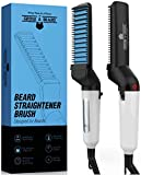 Beard Straightener Brush for Men | Hair Styler Electric Hot Comb | Hot Iron Hair Comb | Portable Electric Heating Tool w/Anti-Scald Function for Mens | Heated Beard Straightening