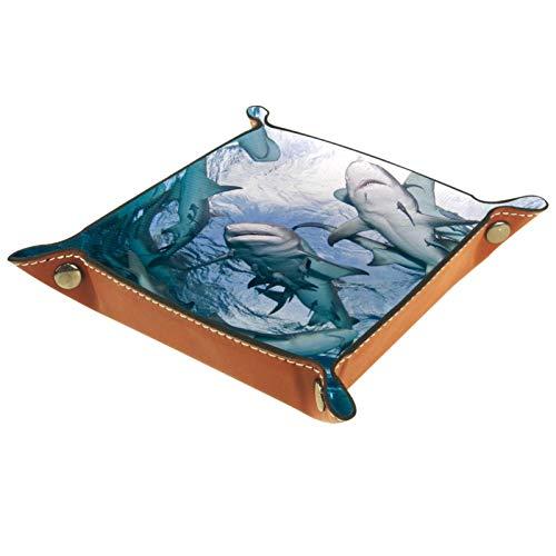 Leder Valet Tray, Würfel Tray Folding Square Holder, Kommode Organizer Platte für Wechsel Münzschlüssel Unterwasser Welt Fisch Tier