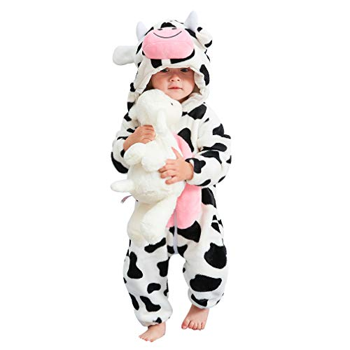 IDGIRL Toddler Cow Costume, Animal Newborn Cosplay Pajamas for Boy Winter Flannel Romper Outfit 18-24 Months, White cow