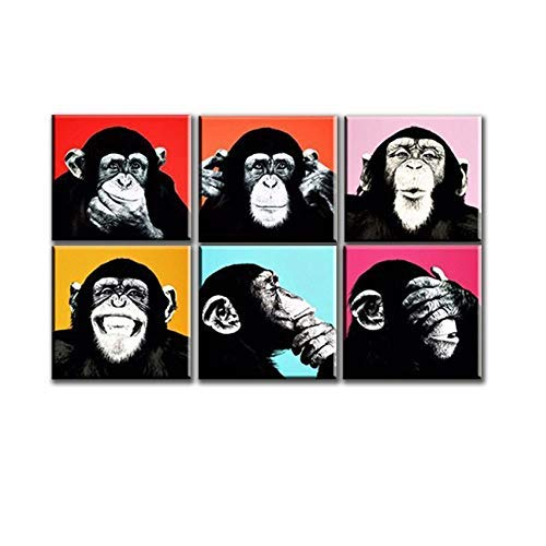 Raybre Art6 Stücke Moderne Cartoon Ölgemälde - Hip Hop Affen Gorilla - Home Wohnzimmer Dekoration Wandbild