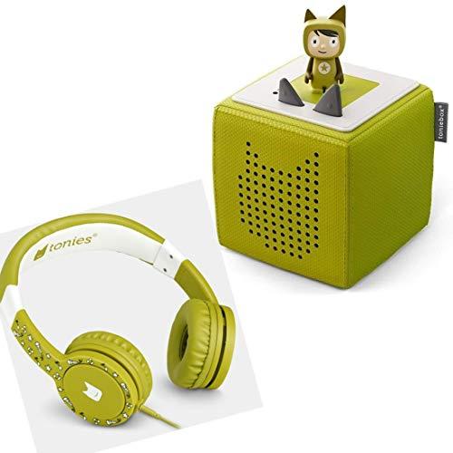 Boxine Toniebox Starterset Grün mit Kreativtonie + Kinderkopfhörer Tonie-Lauscher