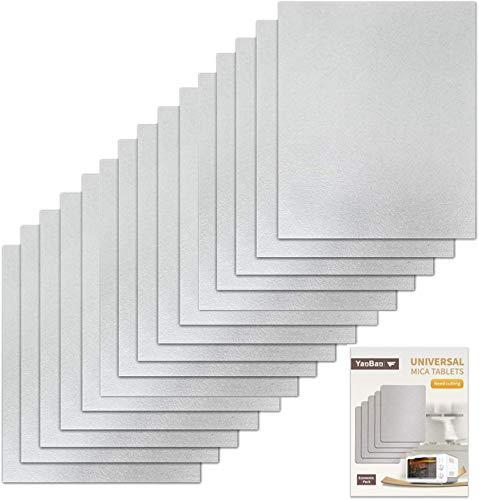VINFANY 15 Stück Wellenleiter-Abdeckung, Universal Mica-Blatt für alle Mikrowellen, zuschneidbar, 150 x 120 mm, 15 Stück