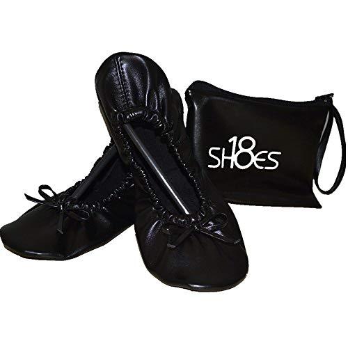Shoes 18 Women s Foldable Portable Travel Ballet Flat Shoes w/Matching Carrying Case (7/8  Black sh18-1)
