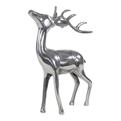 SHINE Deko Hirsch stehend Figur poliertes Aluminium Höhe ca. 38 cm