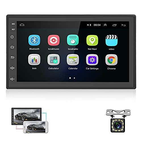 Autoradio Android doppio Din - Autoradio touchscreen HD da 6,8'' con supporto GPS, sistema vivavoce Bluetooth, WiFi, Mirrorlink, radio FM, autoradio con telecamera di retromarcia e comandi al volante