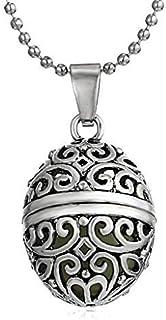 Legisdream Colgante de Huevo de Metal con Tapa y Collar Tallado con Motivos Florales Efecto Azul Claro a Oscuro joyería de...
