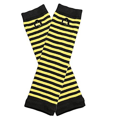 Guante Cosplay Mitten Oversleeve Hombre Mujer Moda Sun Block Keep Warm Cuff-Black Yellow-One Size