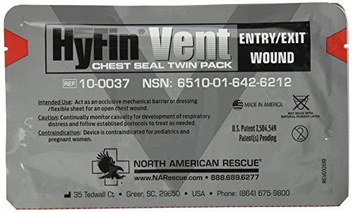 North American Rescue Hyfin Vent - Sello de pecho, 2 unidades