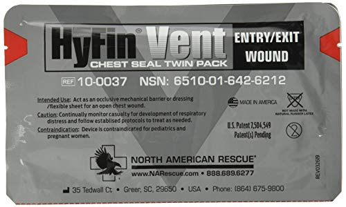 North American Rescue Hyfin Vent Chest Seal, Original Version 2 Count (Pack of 1)