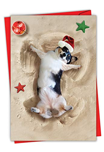 Holiday Sand Angels Dog - Adorable Merry Christmas Note Card with Envelope (4.63 x 6.75 Inch) - Tropical Beach Vacation, Happy Holidays Greeting for Animal Lovers - Fun Season's Greetings C6844FXSG