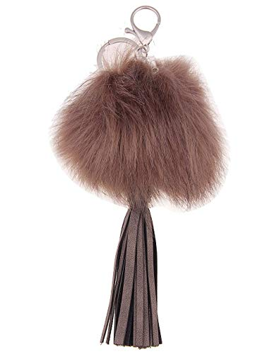 Leslii Damen Schlüssel-anhänger Fell-Bommel Kunstfell-Anhänger Tassel Taschen-Anhänger Troddel Quaste Fake-Fur 23cm Taupe Braun Brauner