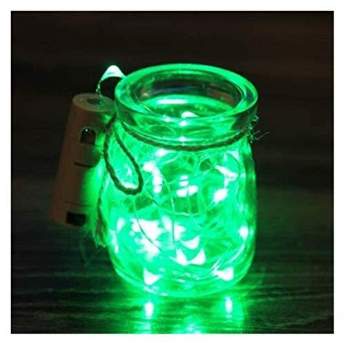 Tira de luz LED de color RGB, batería de 2 m, alambre de cobre en forma de corcho, tapón para botella de vino, decoración de fiesta de Navidad (color: verde)