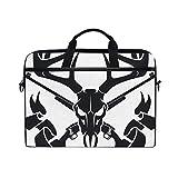 HUAYEXI HandtascheLaptop Rotwild Schädel Überfahrt Jagd Gewehr Fahne,Umhängetasche Laptop Tasche Handtasche Business Aktentasche