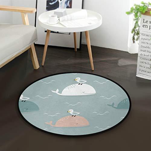 Mnsruu Wale und Möwen, runder Teppich, rutschfest, bequem, rund, für Wohnzimmer, Schlafzimmer, 92 cm Durchmesser