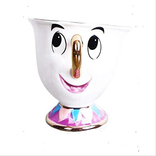 Mokken GJDBBLY Cartoon Belle en het beest Theepot Mok Chip Theepot Cup Een set Leuke kerstcadeau 6.5 * 7cm Zoals afgebeeld