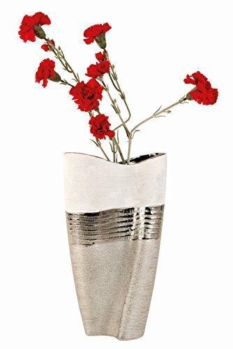 Unbekannt Moderne und große Deko Vase Blumenvase aus Keramik weiß/Silber Höhe 35 cm