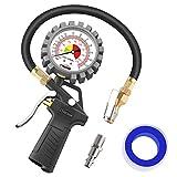 oasser Manómetro Presión Neumáticos 0-12bar Manómetro Inflador Neumáticos para Compre...