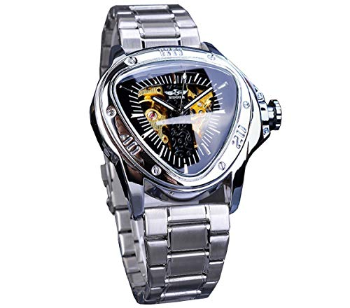 TIME24 Winner Fashion Automatic Mechanical Men's Wrist Watch Triangle Racing Dial Golden Skeleton Dial Stainless Steel Band Silver S996-2