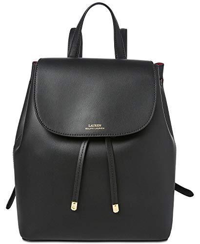 Lauren Ralph Lauren Dryden Flap Leather Backpack (Black/Crimson)