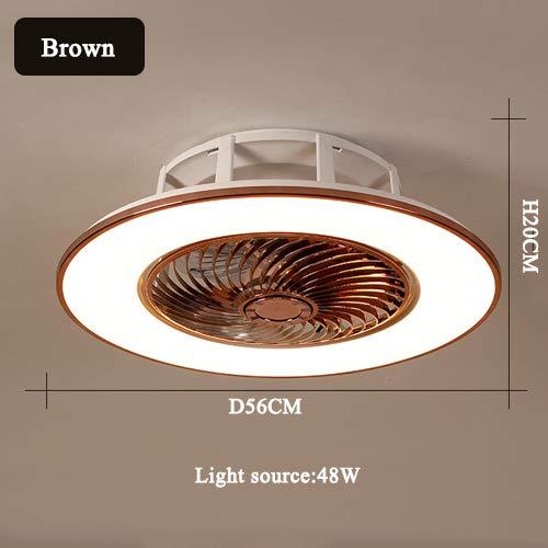 Lámpara de ventilador de techo LED Moderna Minimalista Lámpara de techo Dormitorio Lámpara de salón Lámpara de ventilador redondo (Body Color : Marrón)