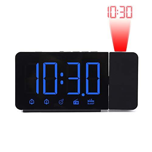 FORNORM Projectiewekker, FM-wekker, digitale led-wekker met snooze- en dual alarmfunctie, achtergrondverlichting overig M Blauwe letter.