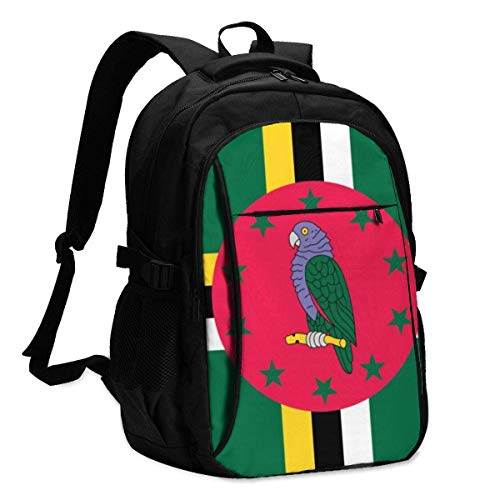 XCNGG Dominica Flag Travel Laptop Backpack College School Bag Casual Daypack with USB Charging Port