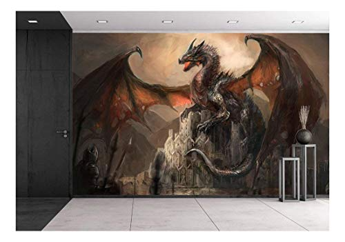 wall26 - War with The Dragon on Castle - Removable Wall Mural | Self-Adhesive Large Wallpaper - 66x96 inches
