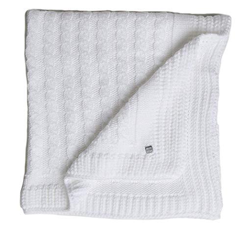 Minutus Manta Punto Chero, trenzas 100% Dralón (Lana bebe), 100 Cm, color Blanco
