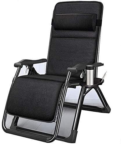 JAKWBR Tumbona plegable para el sol, tumbona plegable, gravedad cero con cojín transpirable, para el almuerzo, la siesta, la cama, el balcón, el ocio, la silla mecedora fresca (color: plata)