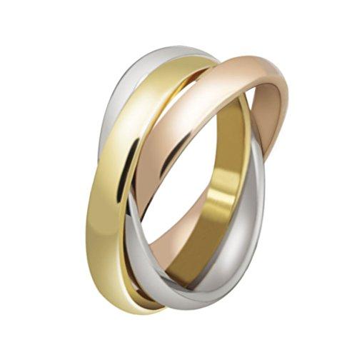 HIJONES Schmuck Damen für Immer Liebes Series Stilvolle Trizyklische Tricolor Ring Größe 54 (17.2)