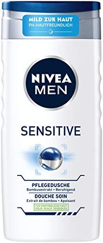 NIVEA MEN Sensitive Pflegedusche (250 ml), mildes Duschgel mit pflegender Bambusmilch, pH-hautfreundliche Dusche für Körper, Gesicht und Haar