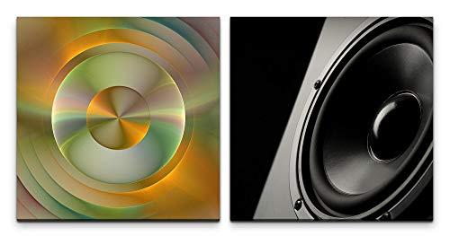 Paul Sinus Art Wandbild 2x60x60cm Lautsprecher Bass Schallwellen Dekorativ Abstrakt Schwarz Musik
