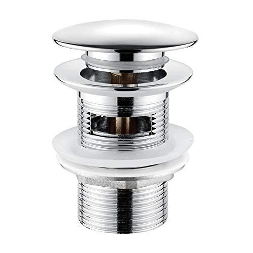 Ibergrif M20502 Click-Clack Desagüe Lavabo Universal con Rebosadero, Válvula Tapon para Bidés, Plata