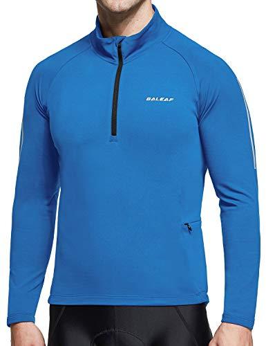 BALEAF Men's Thermal Fleece Bike Jersey Cycling Running Pullover Half Zip Long Sleeve Bicycle Jacket Winter Pockets Blue L