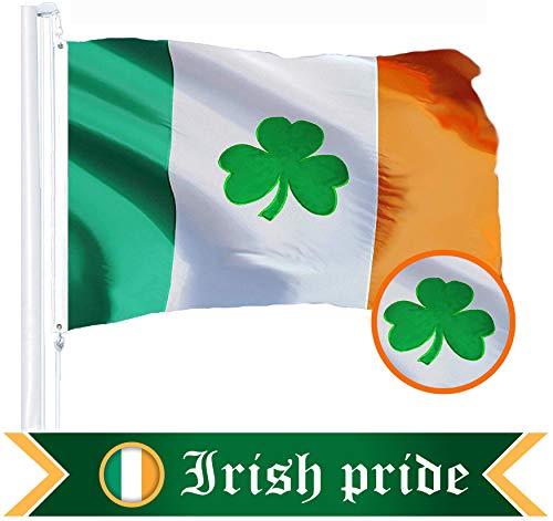 G128 Bandera de Irlanda (trébol) | 3x5 pies | Bordados - Irlanda, Colores Vibrantes, Arandelas de latón, la Calidad del Poliester