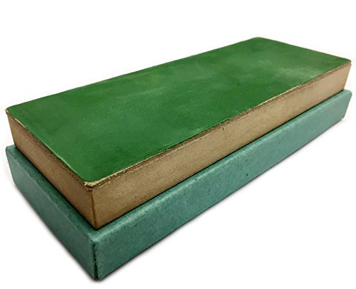Leather Strop Block 3 inch by 8 inch preloaded by hand with green compound while still warm
