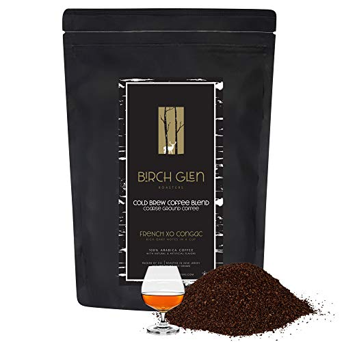 1 lb French XO Cognac Flavored Cold Brew Coffee Blend, Coarse Ground Colombian - Birch Glen Roasters - 16 oz Resealable Bag Maintains Freshness
