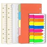 Teenitor, 2 confezioni di ricariche di fogli di carta colorata a righe in formato A6 + divisori con indici per argomenti + 2 tasche per raccoglitori + 320 linguette adesive in polietilentereftalato