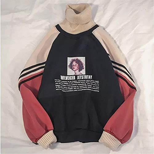 De Galen Sudadera 2020 con capucha para mujer, de invierno, de gran tamaño, estampado de moda, para otoño, cuello alto, ropa exterior cálida (color: caqui, talla: XL)