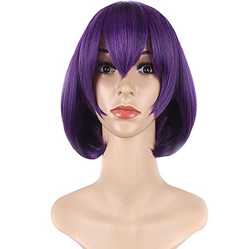 HSHU Perruque Aux Femmes Courte Et Droite Perruques Cosplay Party Violet 25Cm / 10 inch