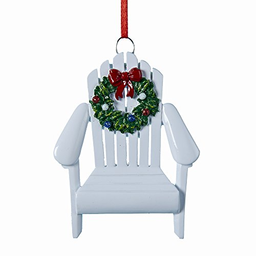 Kurt Adler Adirondack Chair Wreath White 4 Inch Resin Ornament